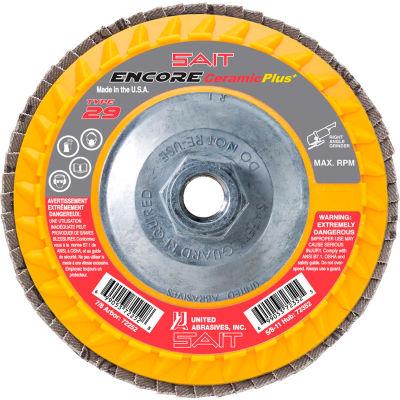 """United Abrasives - Sait 72351 Encore Flap Disc Type 29 4.5 """" x 5/8""""-11 40 Grit Ceramic - Pkg Qty 10"""