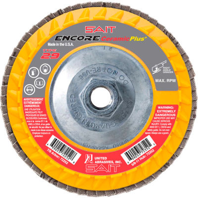 """United Abrasives - Sait 72352 Encore Flap Disc Type 29 4.5 """" x 5/8""""-11 60 Grit Ceramic - Pkg Qty 10"""