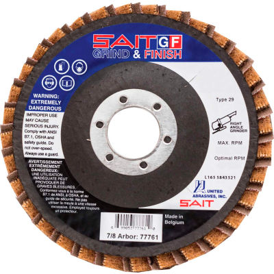 "United Abrasives - Sait 77721 Grind/Finish Flap Disc T29 4-1/2 "" x 7/8"" 80 Grit Coated & Non-Woven - Pkg Qty 10"