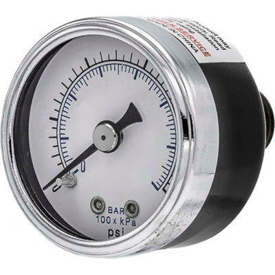 "PIC Gauges 2"" Utility Pressure Gauge, 1/8"" NPT, Dry Fillable, 0/160 PSI, Ctr Back Mount, 102D-208F"