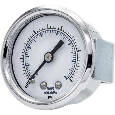 """PIC Gauges 1.5"""" Pressure Gauge, 1/8"""" NPT, Dry Fillable, 0/160 PSI Range, U-Clamp Mount, 103D-158F"""