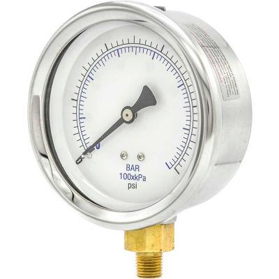 "PIC Gauges 4"" Utility Pressure Gauge, 1/4"" NPT, Dry Fillable, 0/160 PSI Range, LM, 201D-404F"