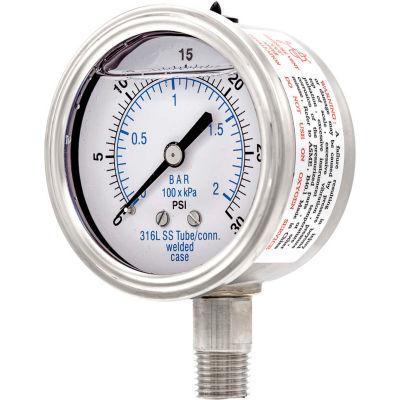 """PIC Gauges 2.5"""" All Stainless Pressure Gauge, 1/4"""" NPT, 0/30 PSI, Glycerine Filled, LM, 301L-254C"""