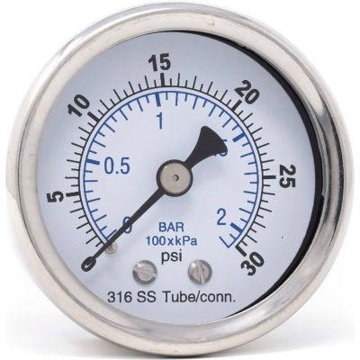 """PIC Gauges 2.5"""" All SS Pressure Gauge, 1/4"""" NPT,0/30 PSI, Dry Fillable, Ctr Back Mount, 302D-254C"""