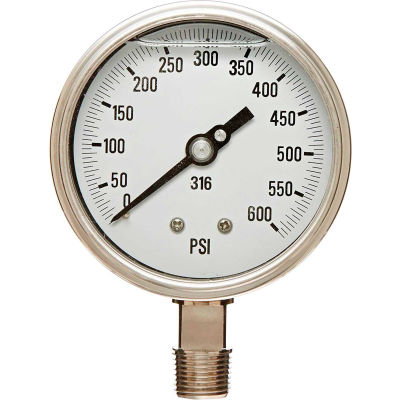 "PIC Gauges 4"" All Stainless Pressure Gauge, 1/2"" NPT, 0/600 PSI, Dry Fillable, LM, 4001-2LK-GF"