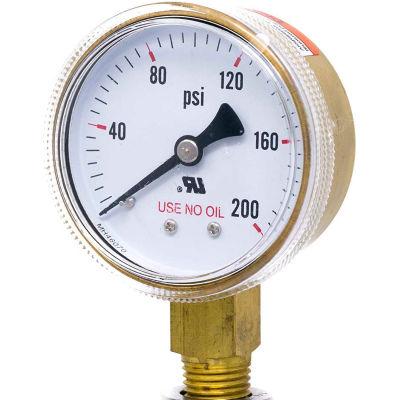 """PIC Gauges 2"""" UNO Pressure Gauge, 1/4"""" NPT, Dry, 0/200 PSI, Lower Mount, 501D-UNO-204G"""