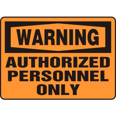 """Accuform MADM323VS Warning Sign, Authorized Personnel Only, 14""""W x 10""""H, Adhesive Vinyl"""