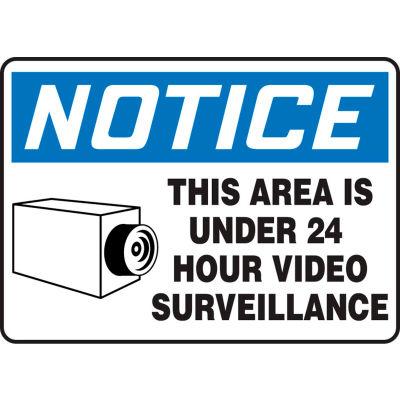 """Accuform MASE806VA Notice Sign, This Area Is Under 24 Hour Video Surveillance, 10""""W x 7""""H, Aluminum"""