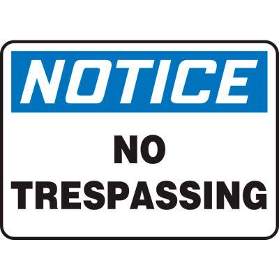 """Accuform MATR806VA Notice Sign, No Trespassing, 14""""W x 10""""H, Aluminum"""