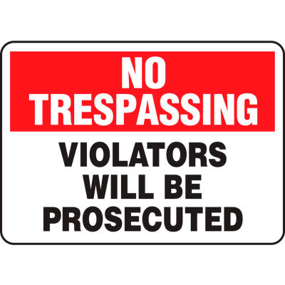 "Accuform MATR901VS No Trespassing Sign, Violators Will Be Prosecuted, 10""W x 7""H, Adhesive Vinyl"