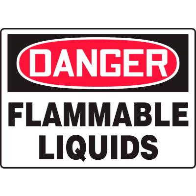 "Accuform MCHG102VP Danger Sign, Flammable Liquids, 14""W x 10""H, Plastic"