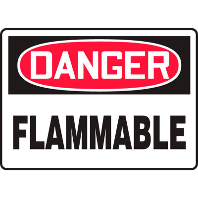 """Accuform MCHL228VS Danger Sign, Flammable, 10""""W x 7""""H, Adhesive Vinyl"""