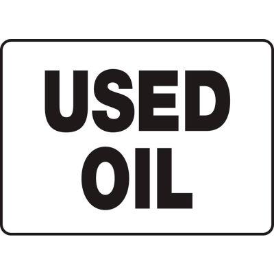 """Accuform MCHL516VP Chemicals & HazMat Sign, Used Oil, 14""""W x 10""""H, Plastic"""