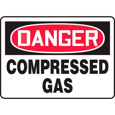 "Accuform MCPG104VS Danger Sign, Compressed Gas, 14""W x 10""H, Adhesive Vinyl"