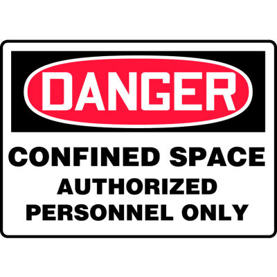 "Accuform MCSP141VS Danger Sign, Confined Space Authorized Personnel..., 14""W x 10""H, Adhesive Vinyl"