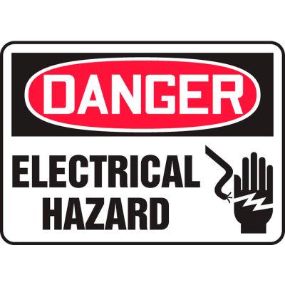 """Accuform MELC017VA Danger Sign, Electrical Hazard (Graphic), 10""""W x 7""""H, Aluminum"""