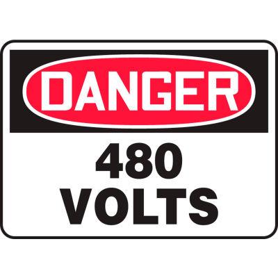 """Accuform MELC059VA Danger Sign, 480 Volts, 14""""W x 10""""H, Aluminum"""