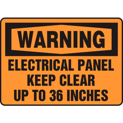 "Accuform MELC309VP Warning Sign, Electrical Panel Keep Clear Up To 36 Inches, 10""W x 7""H, Plastic"