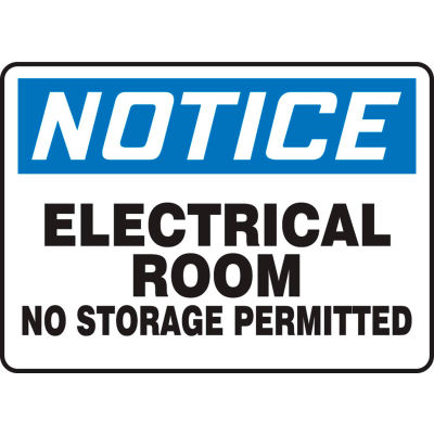 """Accuform MELC804VS Notice Sign, Electrical Room No Storage Permitted, 14""""W x 10""""H, Adhesive Vinyl"""
