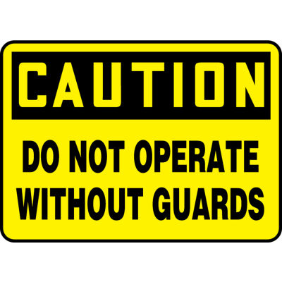 "Accuform MEQC720VP Caution Sign, Do Not Operate Without Guards, 10""W x 7""H, Plastic"