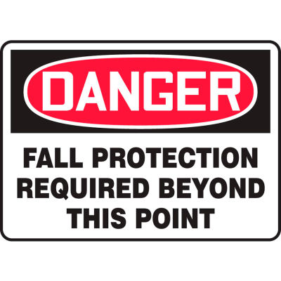 """Accuform MFPR104VP Danger Sign, Fall Protection Required Beyond This Point, 10""""W x 7""""H, Plastic"""