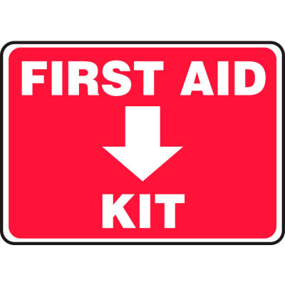 """Accuform MFSD506VP First Aid Kit Sign, 10""""W x 7""""H, Plastic"""