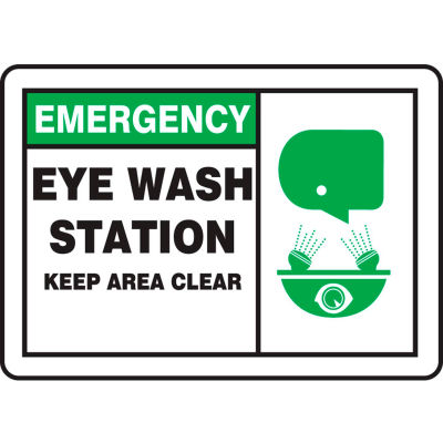 "Accuform MFSD928VA Emergency Sign, Eye Wash Station Keep Area Clear (Graphic), 10""W x 7""H, Aluminum"