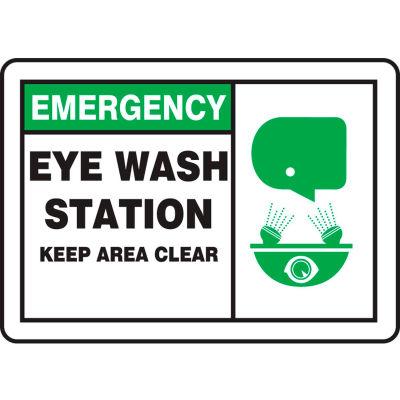 "Accuform MFSD928VP Emergency Sign, Eye Wash Station Keep Area Clear (Graphic), 10""W x 7""H, Plastic"