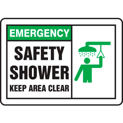"""Accuform MFSD931VP Emergency Sign, Safety Shower (Graphic), 10""""W x 7""""H, Plastic"""