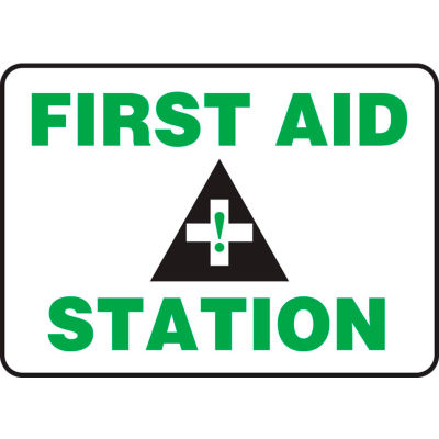 """Accuform MFSD960VP First Aid Station Sign, 14""""W x 10""""H, Plastic"""