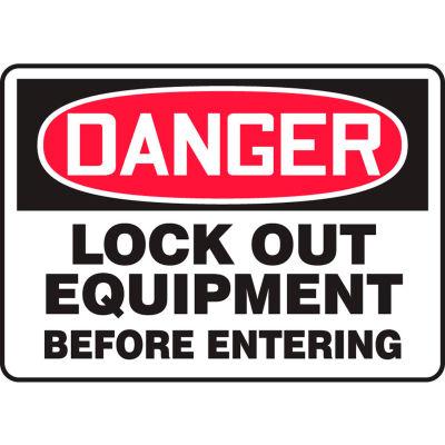 "Accuform MLKT015VS Danger Sign, Lockout Equipment Before Entering, 14""W x 10""H, Adhesive Vinyl"