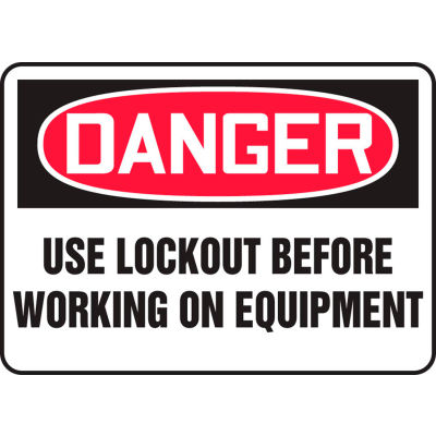 """Accuform MLKT021VA Danger Sign, Use Lockout Before Working On Equipment, 10""""W x 7""""H, Aluminum"""