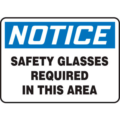 """Accuform MPPA801VP Notice Sign, Safety Glasses Required In This Area, 14""""W x 10""""H, Plastic"""