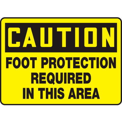 """Accuform MPPE408VP Caution Sign, Foot Protection Required In This Area, 10""""W x 7""""H, Plastic"""