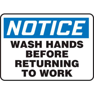 "Accuform MRST813VA Notice Sign, Wash Hands Before Returning To Work, 14""W x 10""H, Aluminum"