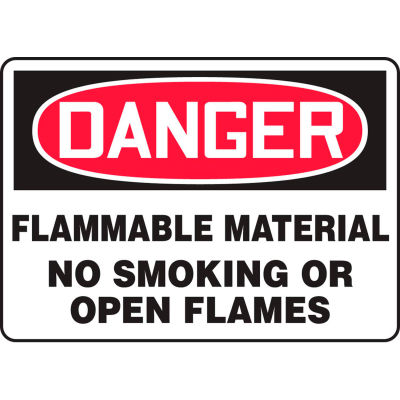"""Accuform MSMK243VA Danger Sign, Flammable Material No Smoking Or Open Flames, 14""""W x 10""""H, Aluminum"""