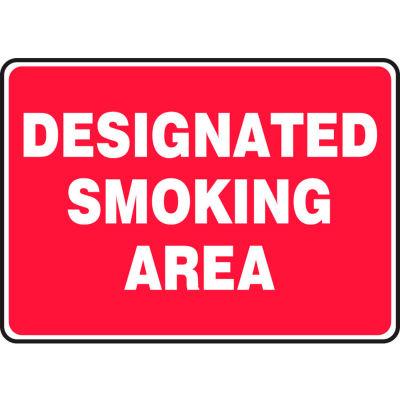 "Accuform MSMK404VS Designated Smoking Area Sign, 10""W x 7""H, Adhesive Vinyl"