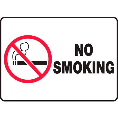 "Accuform MSMK948VS No Smoking (Graphic) Sign, 14""W x 10""H, Adhesive Vinyl"