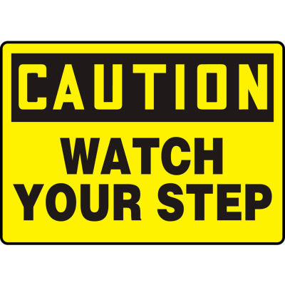 """Accuform MSTF661VS Caution Sign, Watch Your Step, 14""""W x 10""""H, Adhesive Vinyl"""