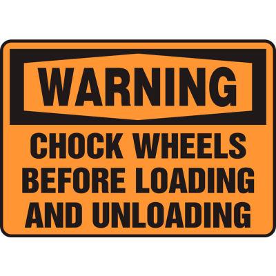 "Accuform MTKC302VS Warning Sign, Chock Wheels Before..., 10""W x 7""H, Adhesive Vinyl"