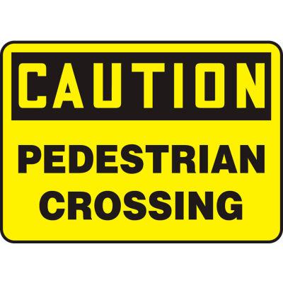 "Accuform MVHR687VS Caution Sign, Pedestrian Crossing, 14""W x 10""H, Adhesive Vinyl"