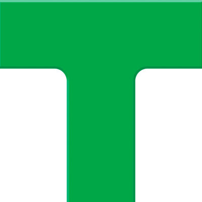"Accuform PTP207GN Tough-Mark™ Heavy-Duty Floor Marking Shape, 6""x6"" T-Corner, Green"