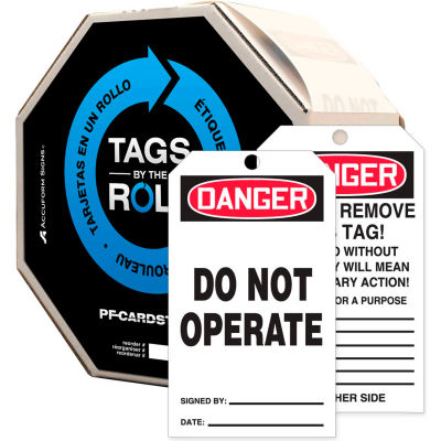 Accuform TAR121 Danger Do Not Operate Tag, RP-Plastic, 250/Roll
