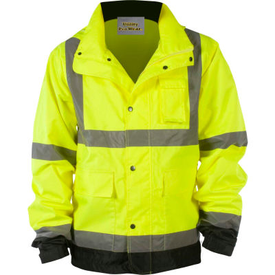 Utility Pro™ High-Visibility Rain Jacket, ANSI Class 3, XL, Yellow/Black
