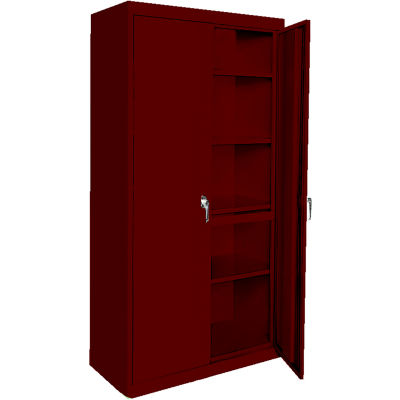 """Steel Cabinets USA AAH-42RB-WR Storage Cabinet All-Welded 42""""Wx18""""Dx72""""H Wine Red"""