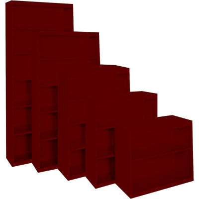 """Steel Cabinets USA Bookcase All-Welded 36""""Wx13""""Dx42""""H Wine Red"""