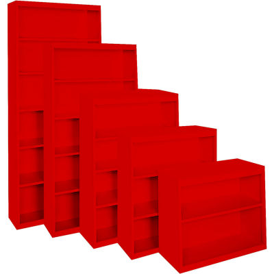"""Steel Cabinets USA All-Welded Bookcase, 36""""Wx18""""Dx42""""H, Red"""