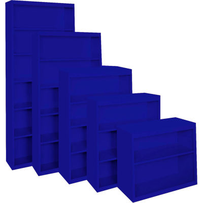 "Steel Cabinets USA Bookcase All-Welded 36""Wx18""Dx52""H Blue"