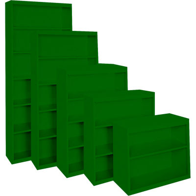 "Steel Cabinets USA BCA-365218-L-GRN Bookcase All-Welded 36""Wx18""Dx52""H Leaf Green"