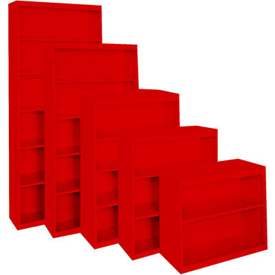 """Steel Cabinets USA All-Welded Bookcase, 36""""Wx18""""Dx52""""H, Red"""